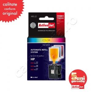 ActiveJet Sistem Kit automat de refill color pentru HP 22 HP 28 HP 57