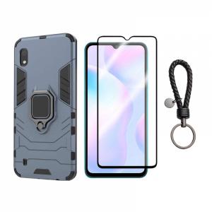 KRASSUS Set protectie 2 in 1 pentru Xiaomi Redmi 9A cu husa hybrid antisoc cu stand inel si folie sticla fullsize si breloc cadou, dark blue