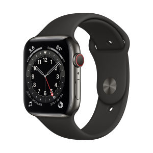Apple Watch Series 6 44mm GPS+Cellular Graphite Stainless Steel Case with Black Sport Band