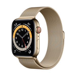 Apple Watch Series 6 44mm GPS+Cellular Gold Stainless Steel Case with Gold Milanese Loop