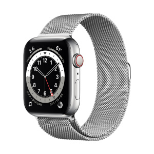Apple Watch Series 6 44mm GPS+Cellular Silver Stainless Steel Case with Silver Milanese Loop