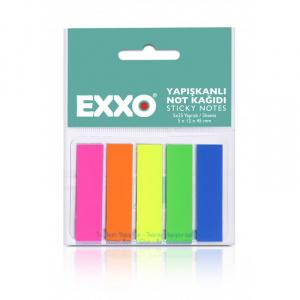 EXXO Index autoadeziv dreptunghiular, sticky notes 12x45 mm, culori neon