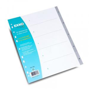 EXXO Separatoare numerice pentru documente A4, cu perforatii, plasticate Numere 1-5