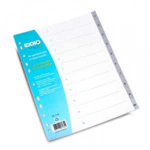 EXXO Separatoare numerice pentru documente A4, cu perforatii, plasticate Numere 1-10