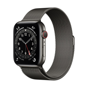 Apple Watch Series 6 40mm GPS+Cellular Graphite Stainless Steel Case with Graphite Milanese Loop
