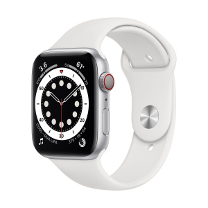 Apple Watch Series 6 44mm GPS+Cellular Silver Aluminum Case with White Sport Band