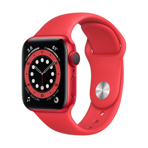 Apple Watch Series 6 40mm GPS+Cellular Red Aluminum Case with Red Sport Band