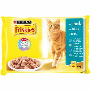 Friskies Adult Cat, Multipack Peste, 4 x 100 g
