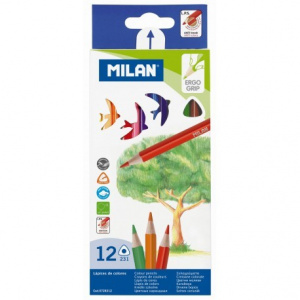Milan Creioane colorate triunghiulare, 12 culori, 12 set/pachet