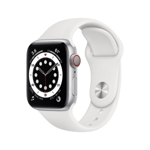 Apple Watch Series 6 40mm GPS+Cellular Silver Aluminum Case with White Sport Band