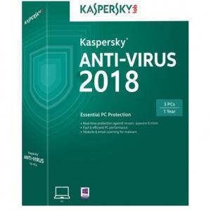 Kaspersky Antivirus 2018, 3 PC, 1 an, Renew, Retail KL1171X5CFR