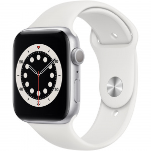 Apple Watch Series 6 44mm GPS Silver Aluminum Case with White Sport Band