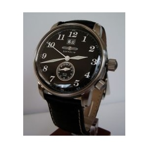 Zeppelin 7644-2 DUAL TIME, BIG DATE, COLLECTION LZ 127 GRAF , DIAL BLACK