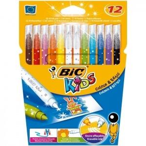 BIC Carioca 10 culori + 2 corectoare Colour&Erase Bic 880510