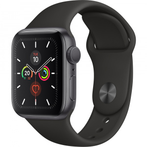 Apple Watch 5 GPS Aluminiu Negru 40MM Si Curea Sport Silicon Negru