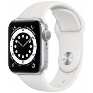 Apple Watch Series 6 GPS Silver Aluminum, 40 mm, White Band