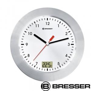 Bresser Ceas de perete cu termometru, cadran alb