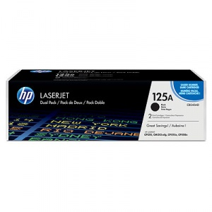 HP 125A Black Dual Pack LaserJet Toner Cartridges (CB540AD)