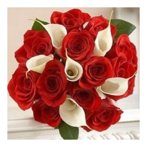 Buchet Mireasa De 13 Trandafiri Rosii Si 6 Cale Albe Detalii Produs