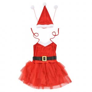 [en.casa] ® Costum Craciunita, 64 x 50 cm, EUR 36-42, 100% poliester, alb/rosu
