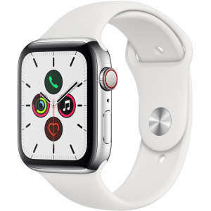 Apple Watch Series 5 GPS + Cellular 44mm Stainless Steel White Sport Band