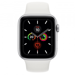 Apple Watch Series 5 GPS 44mm Silver Aluminum White Sport Band