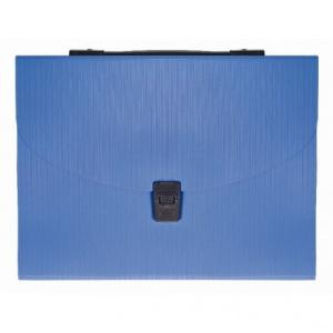 Factis Mapa plastic A4 cu 13 compartimente + maner, albastru