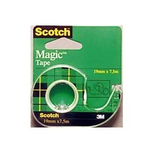 SCOTCH Banda adeziva de birou Magic, 19 mm x 7.5 m, rola plus dispenser