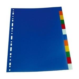 Optima Separatoare plastic color, A4, 120 microni, 12 culori/set, OP-412