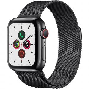 Apple Watch Series 5  Carcasa Space Black Stainless Steel, Bratara Space Black Milanese