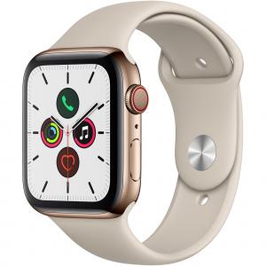 Apple Watch Series 5 GPS + Cellular, 44mm, 4G, Carcasa Gold Stainless Steel, Bratara Stone Sport - S/M & M/L