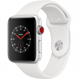 Apple Watch Series 3 GPS + Cellular, 42mm, Carcasa Silver Aluminium, Bratara Sport White