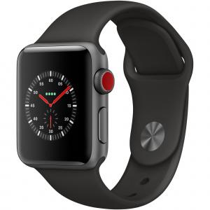 Apple Watch Series 3 GPS + Cellular, 38mm, Carcasa Space Grey Aluminium, Bratara Sport Black