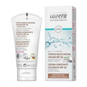 Lavera Crema Hidratanta Nuantata cu SPF10 pentru Ten Mediu Basis Sensitiv, 50ml