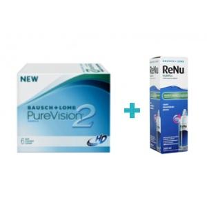 Bausch&Lomb Purevision 2 HD (6 buc) + Renu multiplus (360 ml)