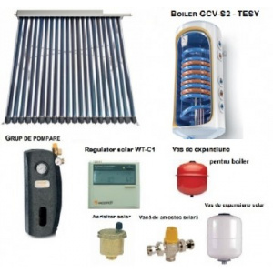 Sontec Panou solar cu 20 tuburi vidate si boiler 120 litri - 1-2 persoane