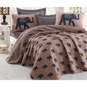 Eponj Lenjerie de pat Double Pique Elephant Brown Dark Blue