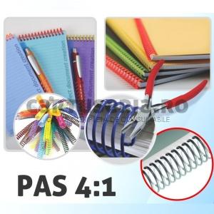 Ronic Spirala continua plastic pas 4:1 format A4 Argintiu 14 mm