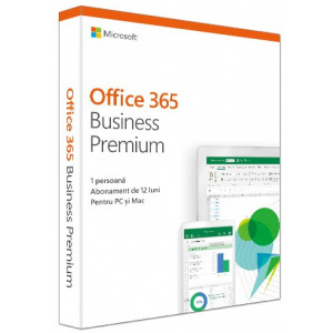 Microsoft Office 365 Business Premium RO 2019, Subscriptie 1 An, Medialess KLQ-00387