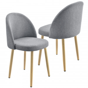 [en.casa] Set 2 bucati scaune design Carmina Hellgrau, 76 x 44 cm, textil/metal, gri deschis
