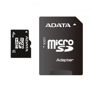 A-Data MicroSDHC 4GB Class 4 + Adaptor SD AUSDH4GCL4-RA1