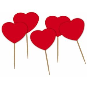 Big Party Scobitori Decorate Inimi Rosii 4.5 x 6.5 cm 50 buc/Set BP13000
