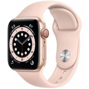 Apple Watch Series 6 40mm GPS+Cellular Gold Aluminum Case with Pink Sand Sport Band