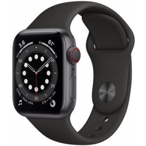 Apple Watch Series 6 40mm GPS+Cellular Space Gray Aluminum Case with Black Sport Band