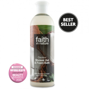 faith in nature Gel de dus si spuma de baie, cu cocos, 400 ml