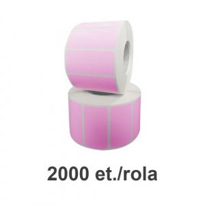 ZINTA Role etichete de plastic roz 50x25mm, fi.76 mm, 2000 et./rola - 50X25X2000-PI-PE