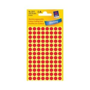 Avery Etichete rotunde  8 mm rosu 416 etichete/top 3010