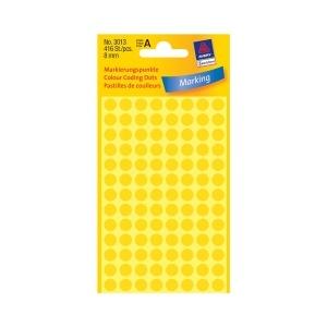 Avery Etichete rotunde  8 mm galben 416 etichete/top 3013