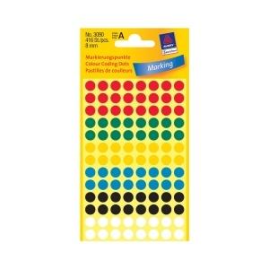 Avery Etichete rotunde  8 mm culori asortate 416 etichete/top 3090