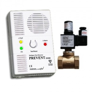 Primatech Detector de gaz metan Prevent 2000M cu electrovalva de alama 3/4